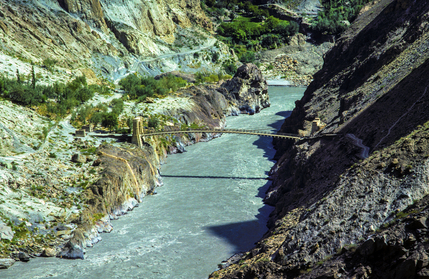 rope bridge over the Ganges river in Pakistan in the Karakorum a
