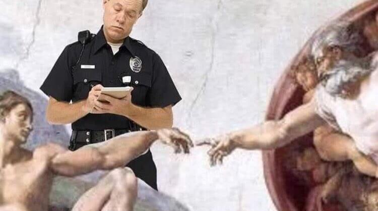 Cop in Michael Angelo Painting
